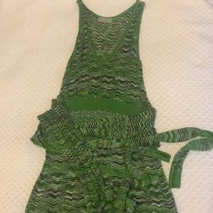 M Missoni fine green, black and white knit dress
